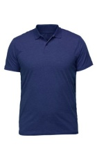 Navy blue collared polo shirt.
