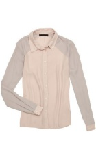 Light pink collared blouse.