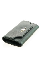 Black leather clutch purse.