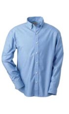 Light blue button up collared shirt.