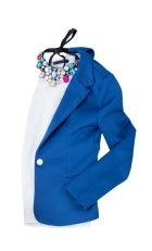 Royal blue fitted blazer with a white crew-neck shirt underneath and a colorful statement necklace.