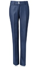 Navy blue straight leg dress pants.