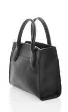 Over-sized black leather satchel (purse).