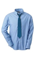 Light blue button up collared shirt with a dark blue polka dotted tie.