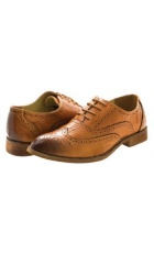 Oak brown colored dress shoes with leather shoe laces.