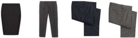 assorted men's dress pants, ladies dress pants and a ladies knee length shirt