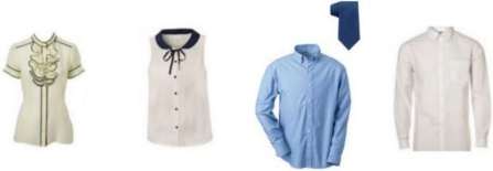assorted ladies blouses and men's button up shirts with ties