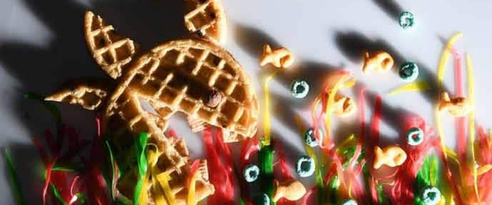 Waffles and candy.