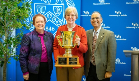 Provost, Charles Zukoski, and Campaign Chair, Graham Hammill, with Campaign award recipient, Suzanne Chamberlain.
