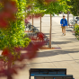 Student walking on UB's North Campus.