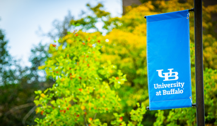UB Banner flying on campus.