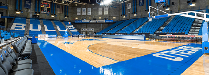 basketball court in Alumni Arena on U-B North Campus.