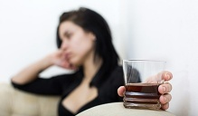 alcohol and depressed woman