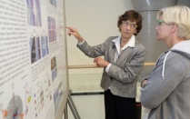 NIDCR director Martha Somerman (left) at the annual NIH Research Festival