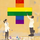 Cartoon drawing of health care workers painting a rainbow flag.