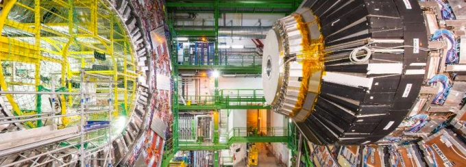 Photo of the enormous Hadron Collider, the world's most powerful particle accelerator. It is round and full of magnets.
