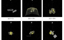 series of six images of a net in space capturing a falling satellite.