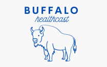 Logo of the buffalo healthcast podcast.