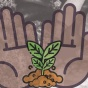 a drawn image of two hands holding a small plant.