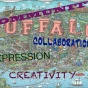 drawing of a map of Buffalo decorated with text: community, creativity, collaboration, expression.