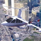 shows an air taxi, which is a small electric aircraft to operate like a taxi to transport people in a city.