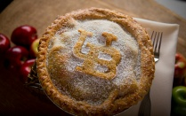 A photo of a pie with the UB logo baked into the crust.