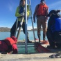 A team of UB students and alums collecting a lake sediment core on western Greenland, summer 2016. We use sediment cores like these to study how climate changed in the past.