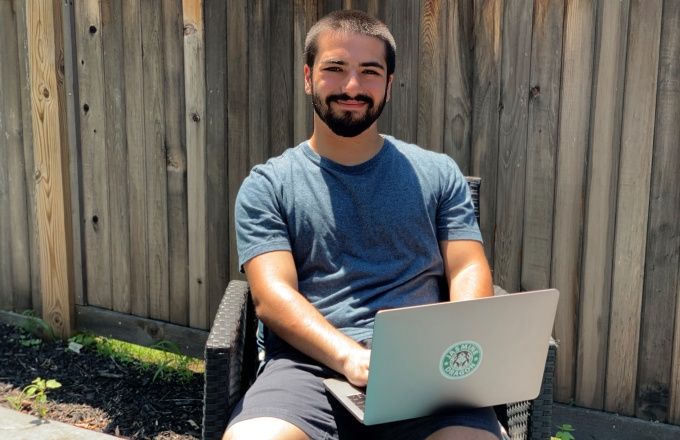 Adam Dounane works remotely from home.