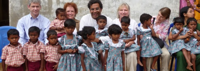 Amrita University's Jay Misra (center) with the 2009 UB delegation visiting a tribal village.