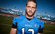 Photo of Peter Fardon in his UB Bulls football uniform in the UB Stadium.