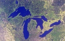 Satellite photo showing all of the Great Lakes.