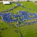 Students forming a human UB logo in an open field of grass.