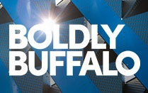"The words Boldy Buffalo in white, with a sunburst showing above the ""O""."