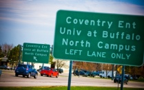 Photo of a road sign on UB's North Campus.