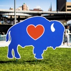 Sign at Canalside of the Buffalove graphic.