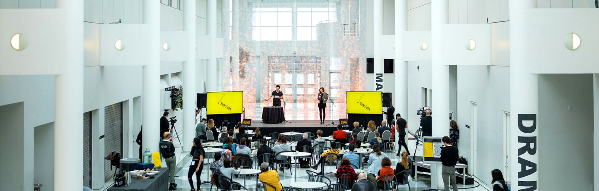 Photo of a concert being held in the Center for the Arts atrium.