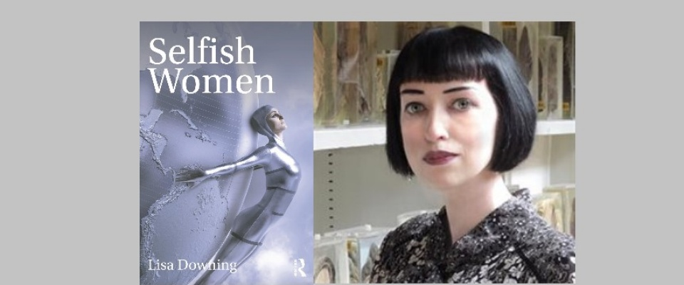 "Image of a silver book cover with the title ""Selfish Women"" written on it next to an image of a woman with short black hair and blue eyes."