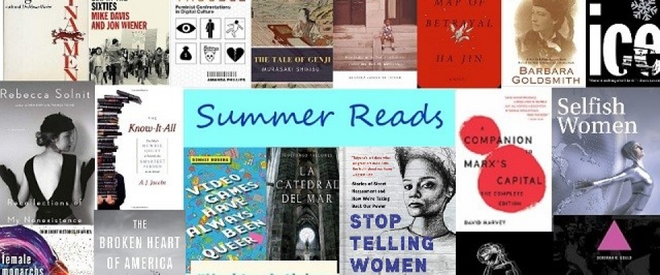 Summer Reads text with a collage of book covers.