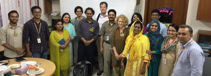 UB team meets with AMR research scientists at icddr,b in Dhaka, Bangladesh. Photo credit: icddr,b