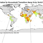 Variation in household transitions away from solid fuels by country.