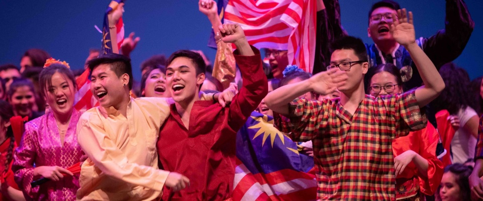 UB's Malaysian SA winning third place in International Fiesta 2019 and celebrating.