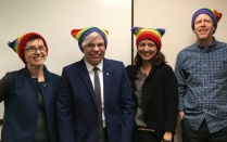 Global Gender and Sexuality Studies faculty wearing rainbow knit hats.