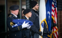 Active service members participate in UB's Veterans Day celebration.