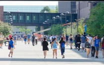 Students walking along spine on sunny day.