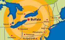 Map of Buffalo area.