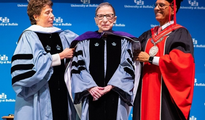 U.S. Supreme Court Associate Justice Ruth Bader Ginsburg receives a SUNY Honorary Degree during her visit to UB on August 26, 2019.