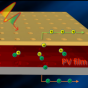 Conceptual illustration of a new photovoltaic device with nanopatterned light-trapping electrodes on the top and bottom interfaces of the active material layer.