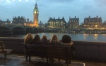 Students overlooking the River Thames in London.