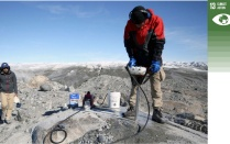 Researchers collecting ice sheet samples in Greenland.