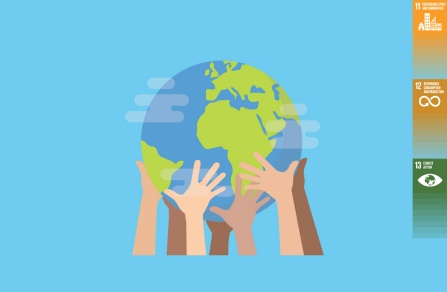 Cartoon of hands holding up Earth.